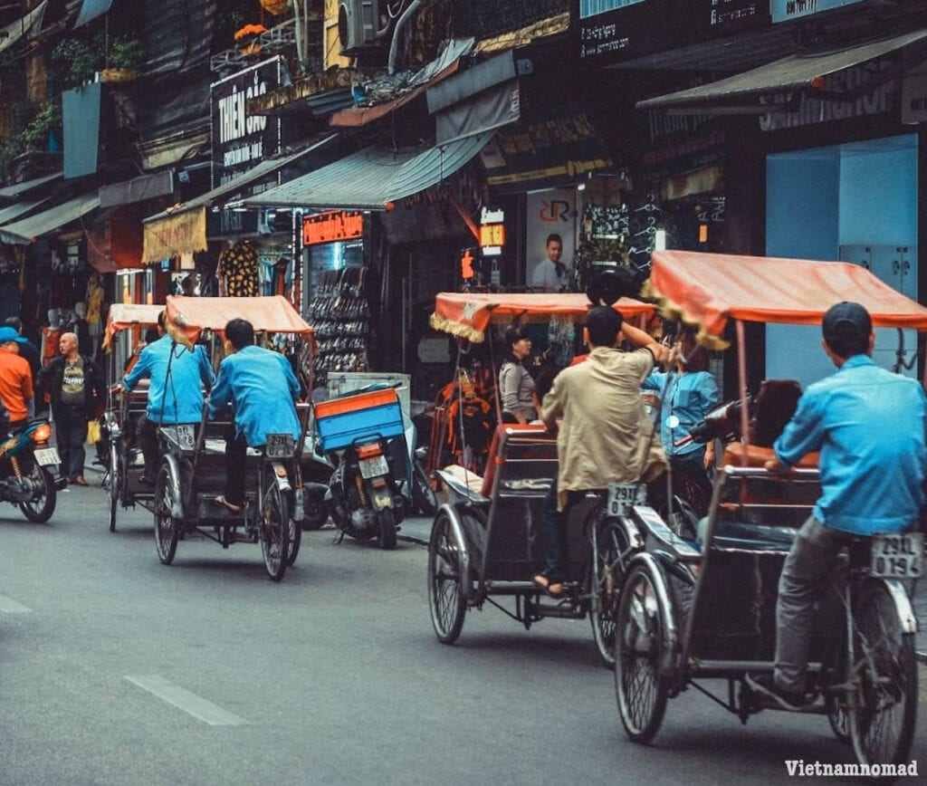 Getting around Hanoi by cyclo is an interesting experience