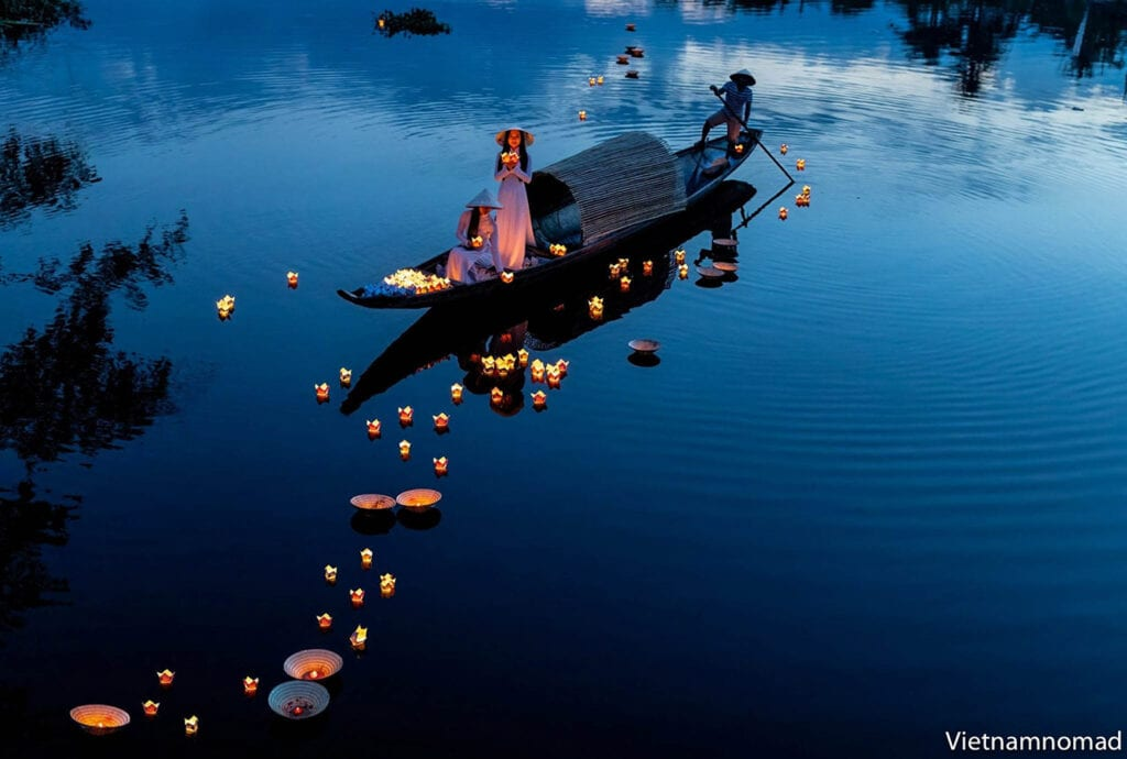 Mesmerizing floating lanterns on Perfume River in the early days of May.