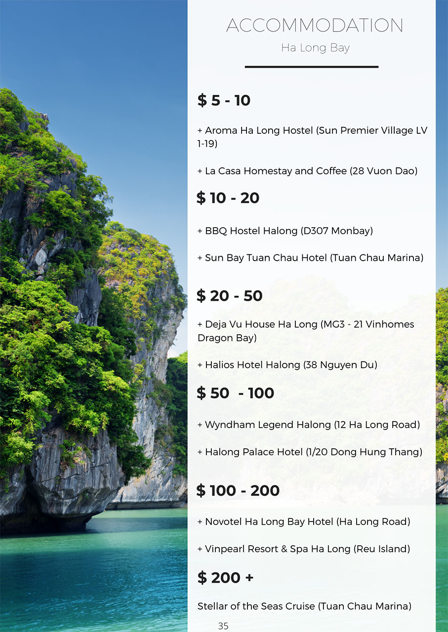 Best accommodation in Ha Long Bay by price range