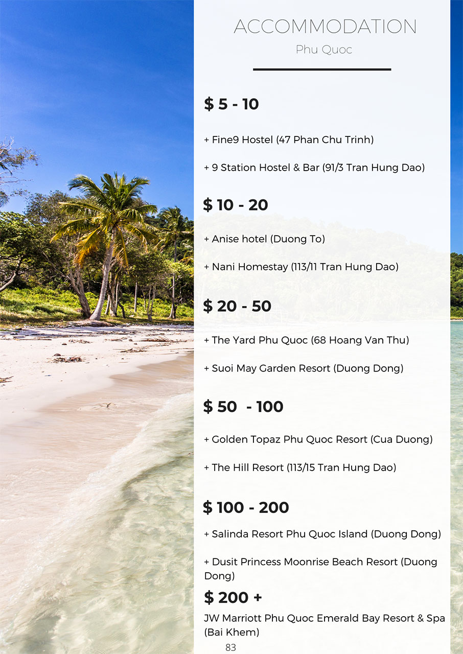 Best accommodation in Phu Quoc by price range, Vietnam travel guide book