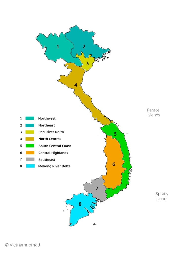 Map of regions of Vietnam - Vietnamnomad